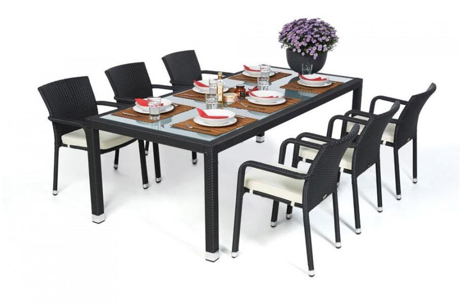 Rattan Gartenmobel Garten Tisch Und Stuhle Orlando 220 Schwarz