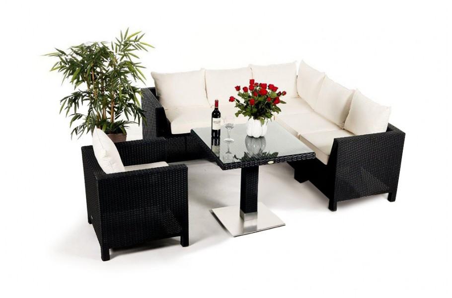pandora rattan lounge schwarz ein 8 teiliges gartenm bel set geeignet f r terrasse sitzplatz. Black Bedroom Furniture Sets. Home Design Ideas