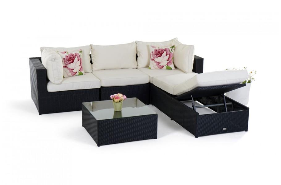 Rattan lounge gartenm bel kuala schwarz for Gartenmobel lounge