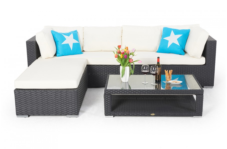 sitzm bel rattan lounge mit h henverstellbarem rattan tisch. Black Bedroom Furniture Sets. Home Design Ideas