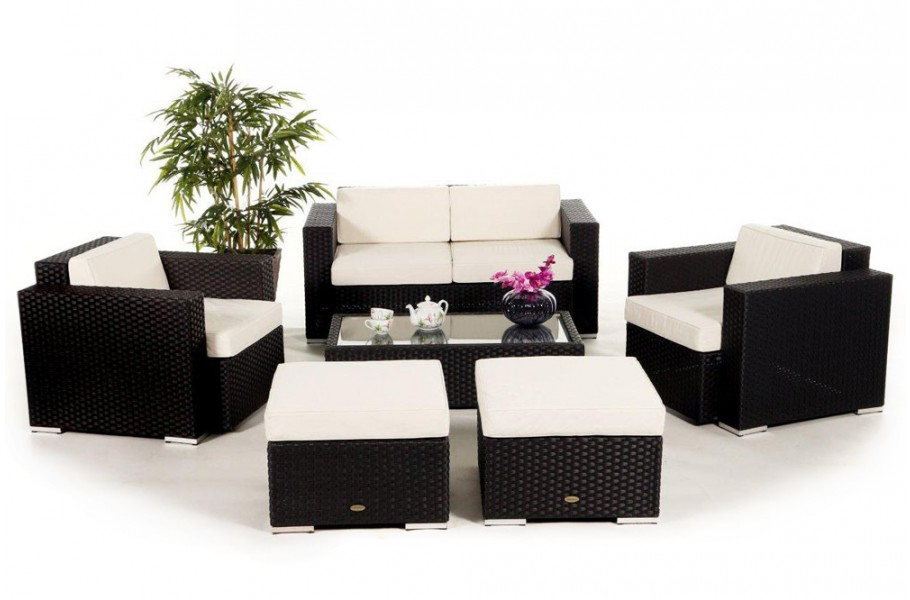 hamilton rattan lounge in schwarz ein 6 teiliges gartenm bel set geeignet f r terrasse. Black Bedroom Furniture Sets. Home Design Ideas