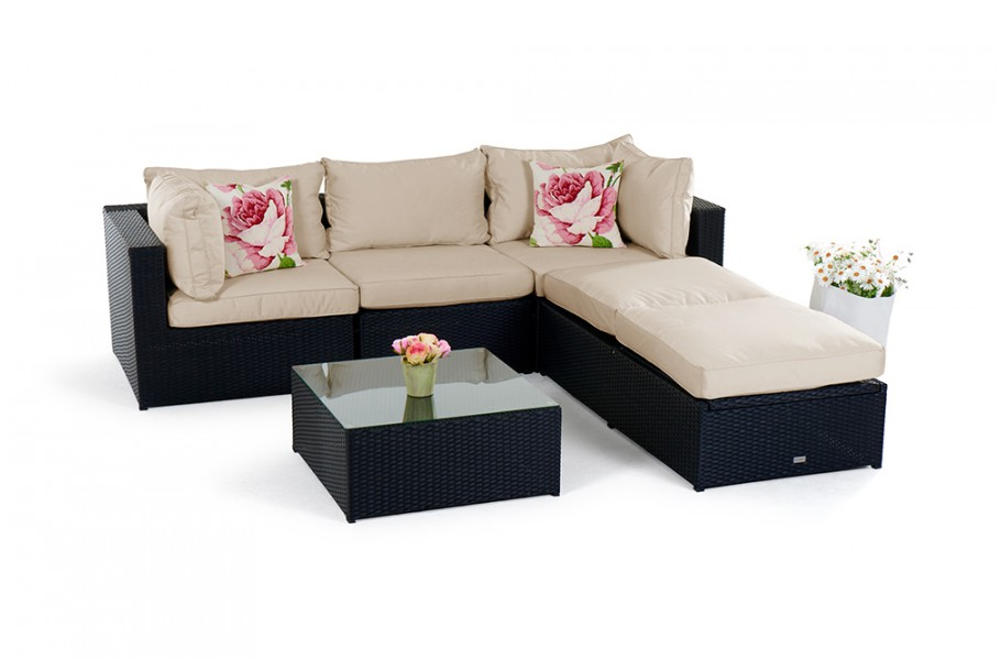 rattan lounge gartenm bel kuala schwarz. Black Bedroom Furniture Sets. Home Design Ideas