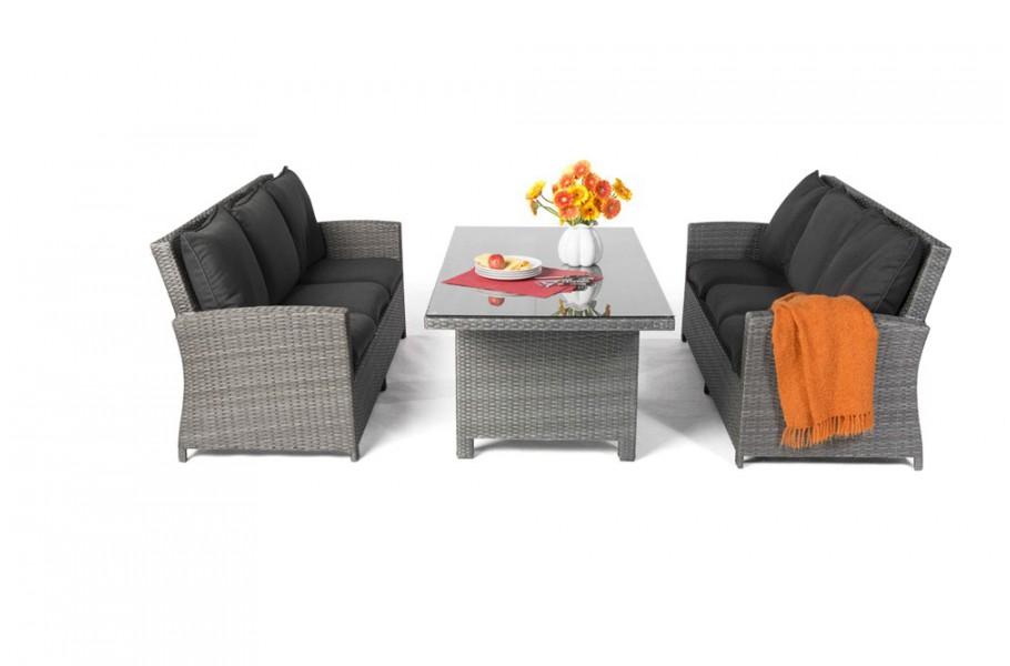 Lea Rattan Lounge Gartenmöbel Tisch Set mix grau