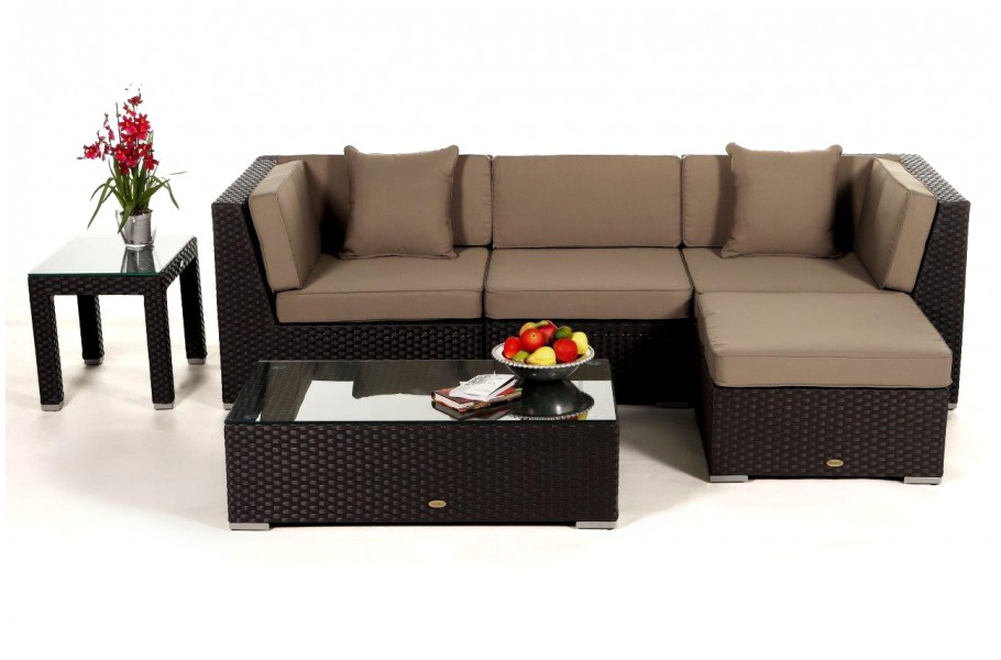 leonardo lounge in braun rattan gartenm bel set f r terrasse garten oder balkon. Black Bedroom Furniture Sets. Home Design Ideas