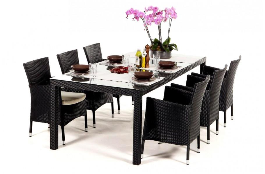 rattanm bel rattan garten tisch und st hle lotus schwarz. Black Bedroom Furniture Sets. Home Design Ideas