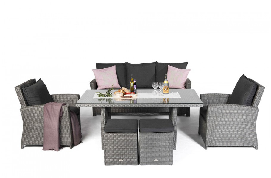 lucy rattan lounge gartenm bel tisch set mix grau. Black Bedroom Furniture Sets. Home Design Ideas