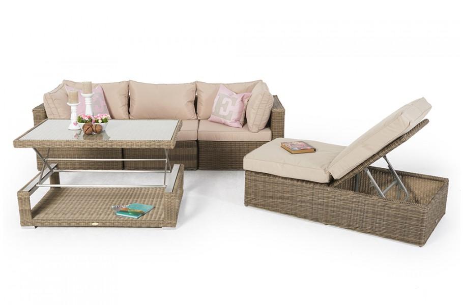 Rattan Lounge Gartenmöbel Lunes natural round