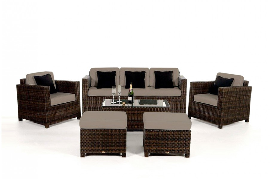 rattan gartenm bel luxury deluxe 3er rattan lounge polsterbezug verschiedene farben. Black Bedroom Furniture Sets. Home Design Ideas