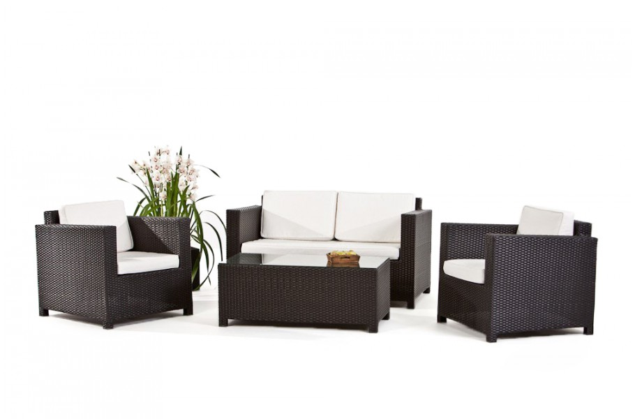 rattan lounge luxury gartenm bel schwarz. Black Bedroom Furniture Sets. Home Design Ideas