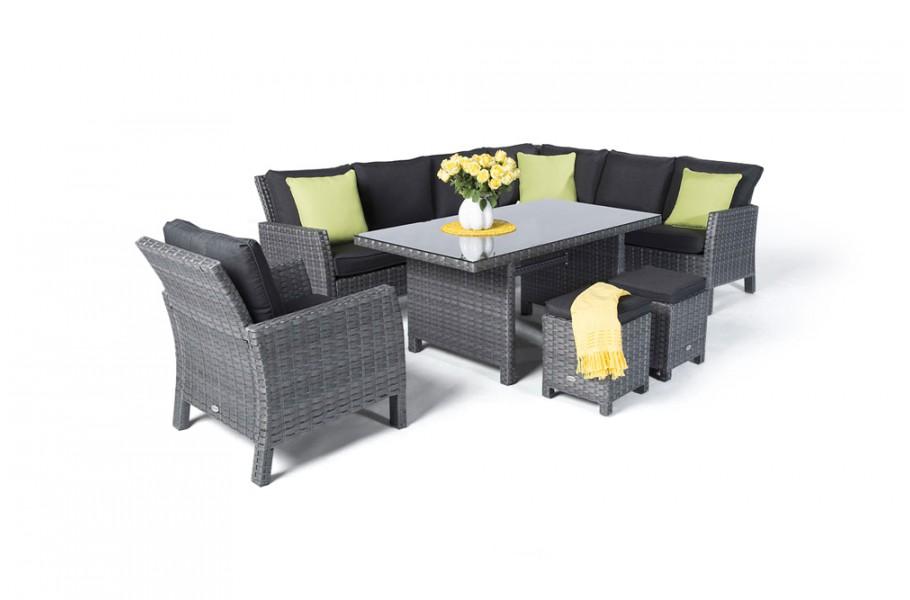 manchester rattan lounge gartenm bel tisch set mix grau. Black Bedroom Furniture Sets. Home Design Ideas