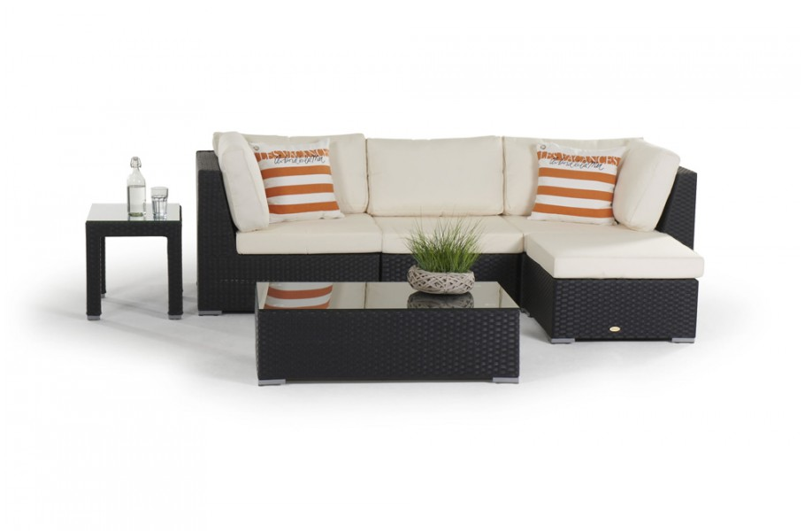 rattan lounge melrose gartenm bel set schwarz. Black Bedroom Furniture Sets. Home Design Ideas