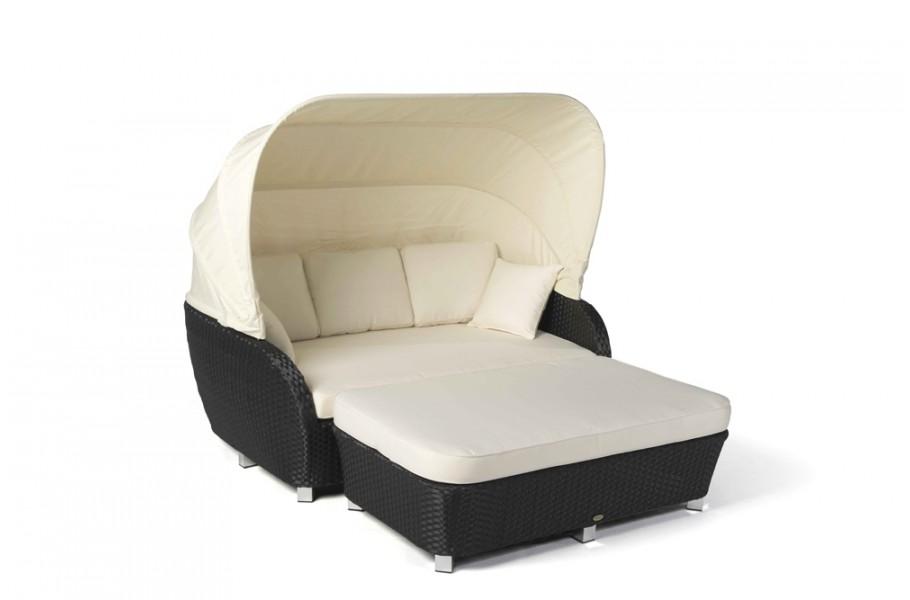 moonshine rattan sonnenliege schwarz bank mit polster. Black Bedroom Furniture Sets. Home Design Ideas