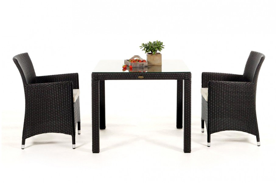 rattan gartenm bel garten tisch und st hle nairobi 90 dark braun. Black Bedroom Furniture Sets. Home Design Ideas