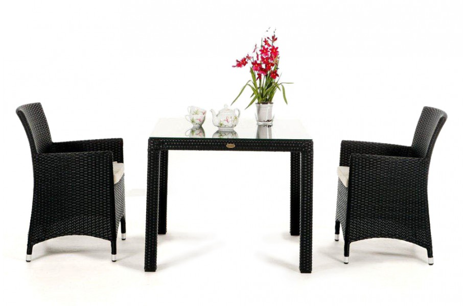 Rattan Gartenmöbel Garten Tisch und Stühle Nairobi 90 schwarz