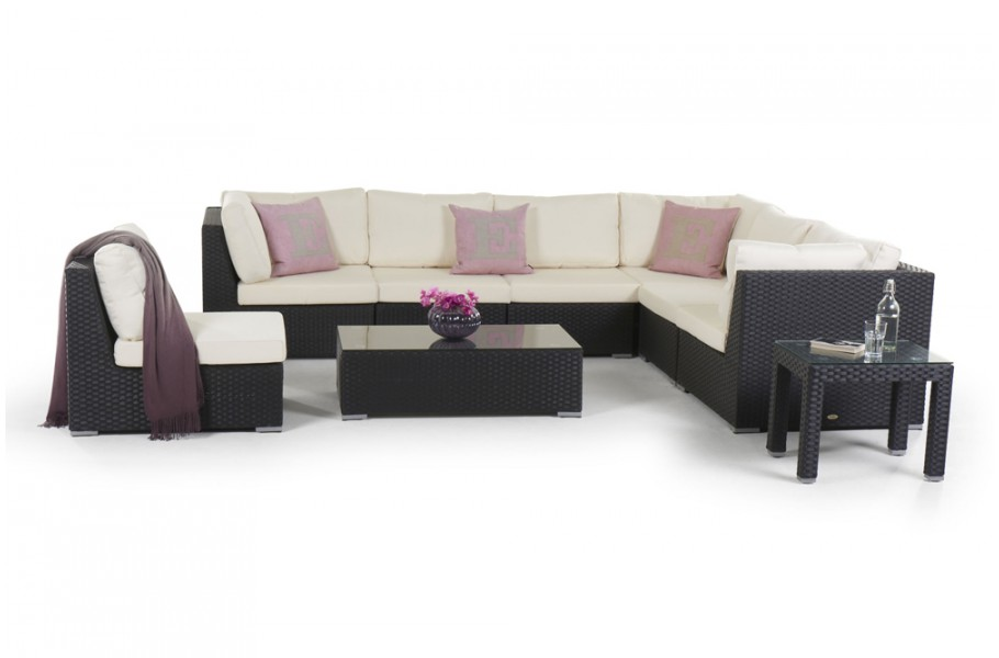 Rattan Lounge Newcastle Gartenmöbel Set schwarz