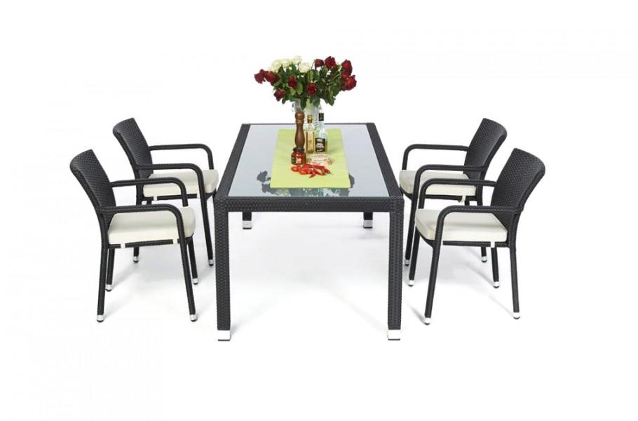 rattan gartenm bel garten tisch und st hle orlando 180 schwarz. Black Bedroom Furniture Sets. Home Design Ideas