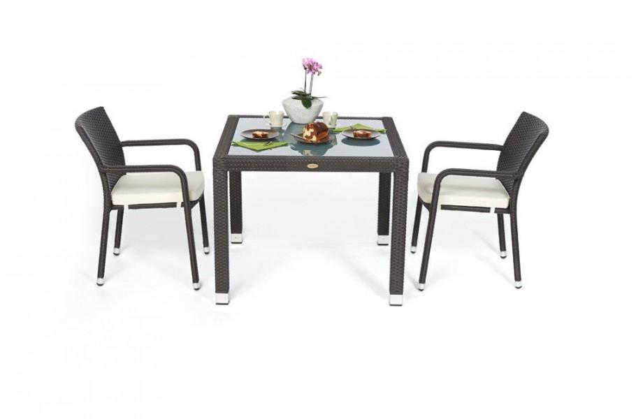 rattan gartenm bel garten tisch und st hle orlando 90 dark braun. Black Bedroom Furniture Sets. Home Design Ideas