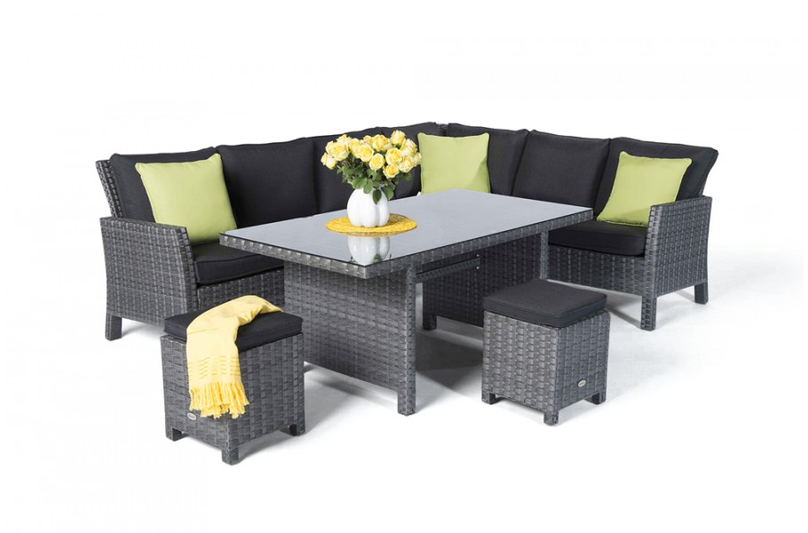 Paddington Rattan Lounge Gartenmöbel Tisch Set mix grau