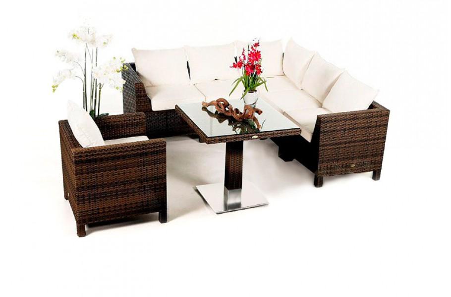 Pandora Rattan Lounge Mixed Braun - Ein 8-teiliges Gartenmöbel Set ...