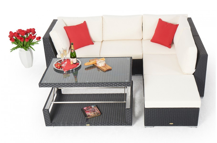 rattan gartenlounge rattan gartenm belset rattan tisch stella schwarz. Black Bedroom Furniture Sets. Home Design Ideas