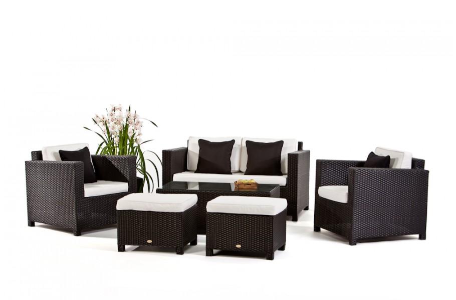 GroBartig Rattan Gartenmöbel Luxury Deluxe Lounge Schwarz