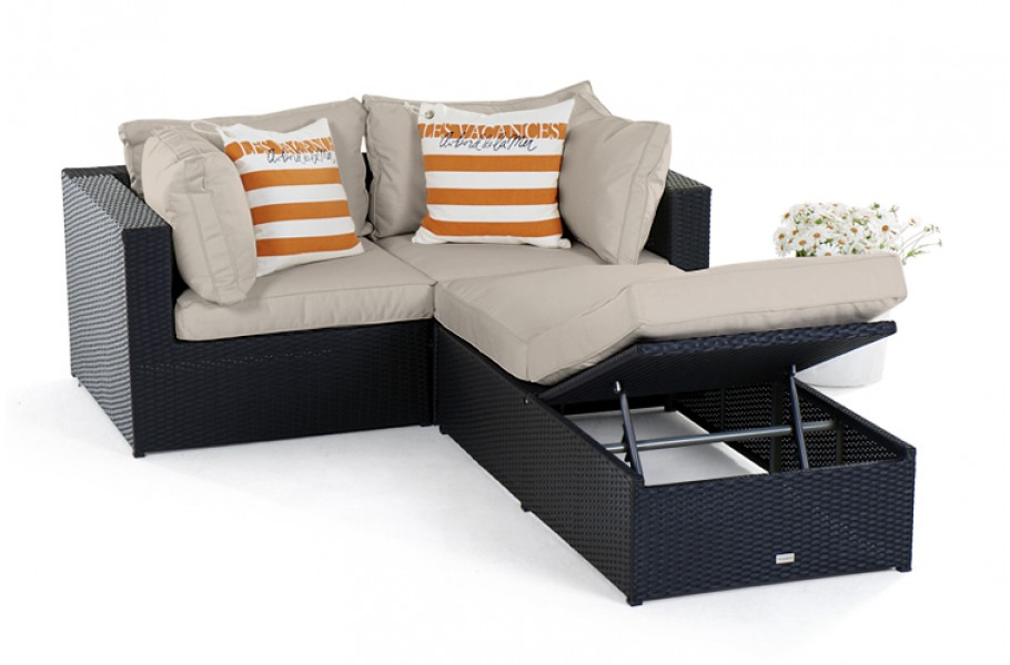 polster bezug in sandbraun f r gartenm bel set panda schwarz. Black Bedroom Furniture Sets. Home Design Ideas