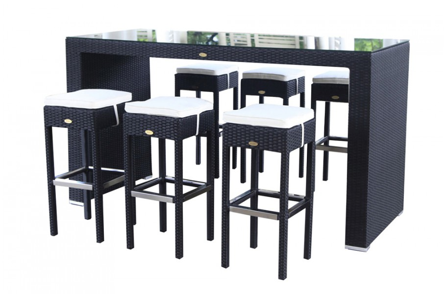 rattan gartenm bel rattan bar dining schwarz. Black Bedroom Furniture Sets. Home Design Ideas