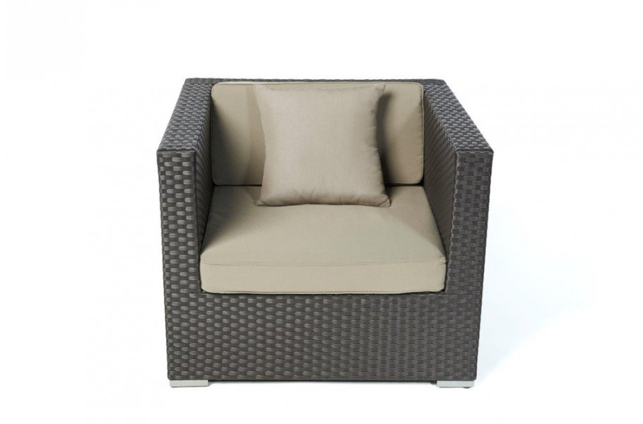 chefsessel in braun rattan gartenm bel f r terrasse garten oder balkon. Black Bedroom Furniture Sets. Home Design Ideas