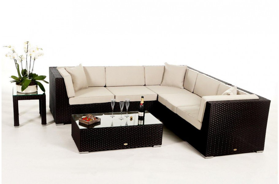 f r das rattan gartenm bel set der shangrila lounge sind polsterbez ge in verschiedenen fraben. Black Bedroom Furniture Sets. Home Design Ideas