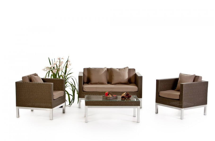 rattan gartenm bel opera berzugset sandbraun. Black Bedroom Furniture Sets. Home Design Ideas