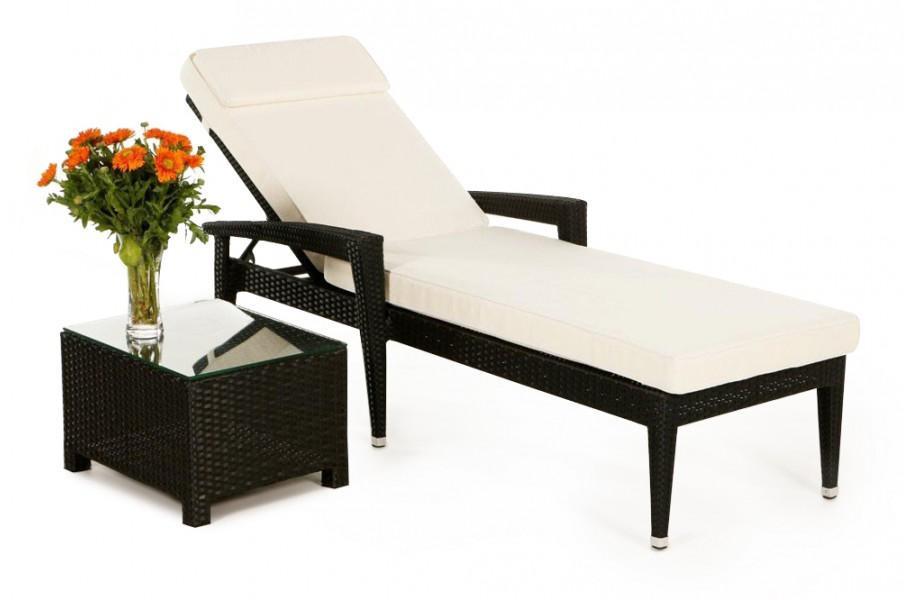 rattan sonnenliege liegestuhl florenz beistelltisch schwarz. Black Bedroom Furniture Sets. Home Design Ideas