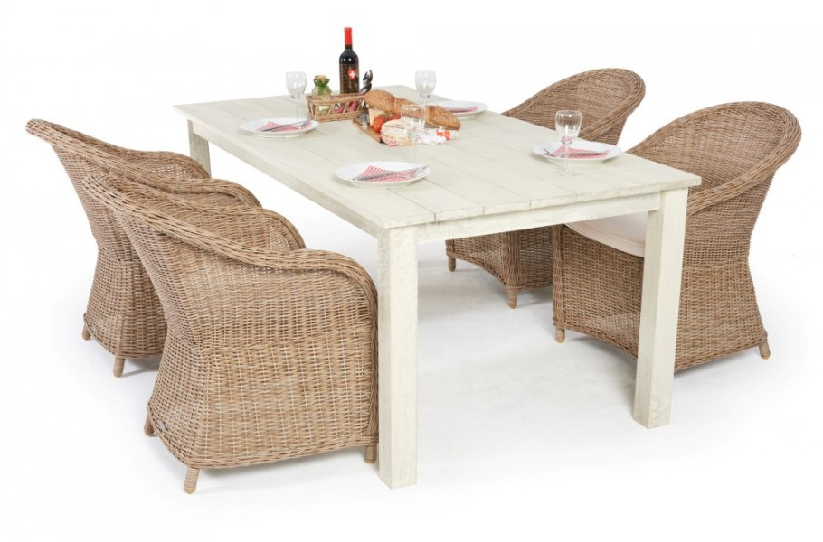 holztisch set romantik mit 4 rattan st hlen. Black Bedroom Furniture Sets. Home Design Ideas