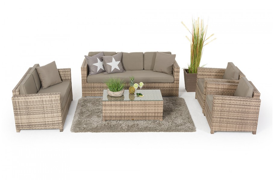 rattan gartenm bel westham lounge natural gartensofa set. Black Bedroom Furniture Sets. Home Design Ideas