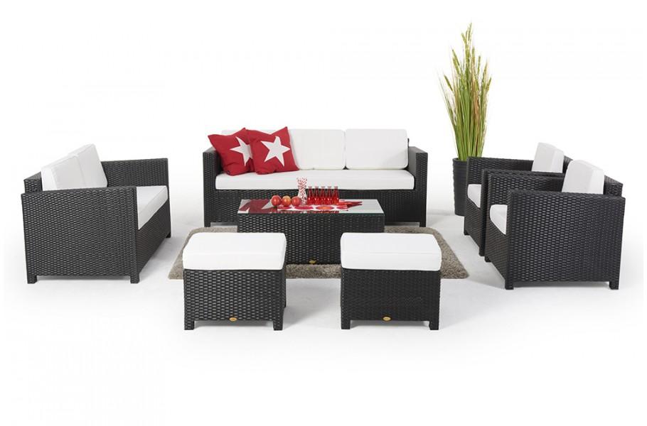 Rattan Gartenmöbel Lounge Westham Deluxe schwarz
