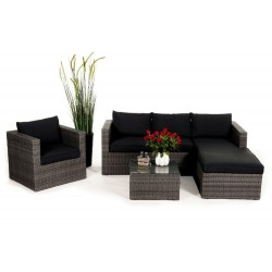 brooklyn rattan gartenmbel lounge mix grau - Gartenmobel Grau Rattan
