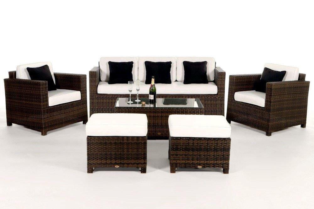Gartenmobel Polyrattan Lutz : Luxury Deluxe meubles de jardin Lounge en rotin 3 pl brun