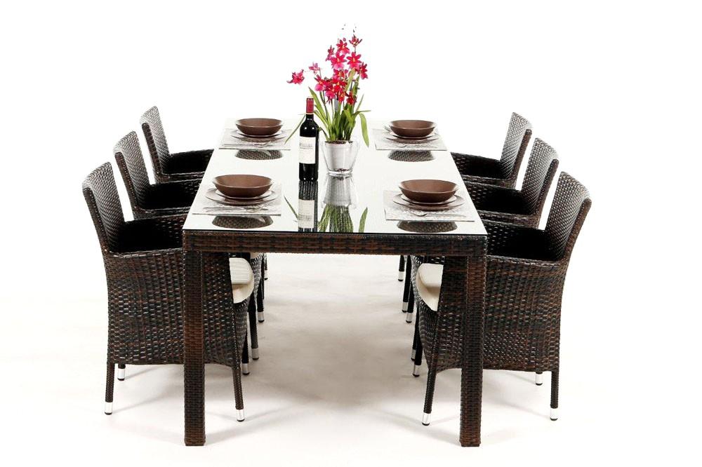 Set compos d 39 une table et de 6 chaises lotus dining brun for Meubles jardin lausanne