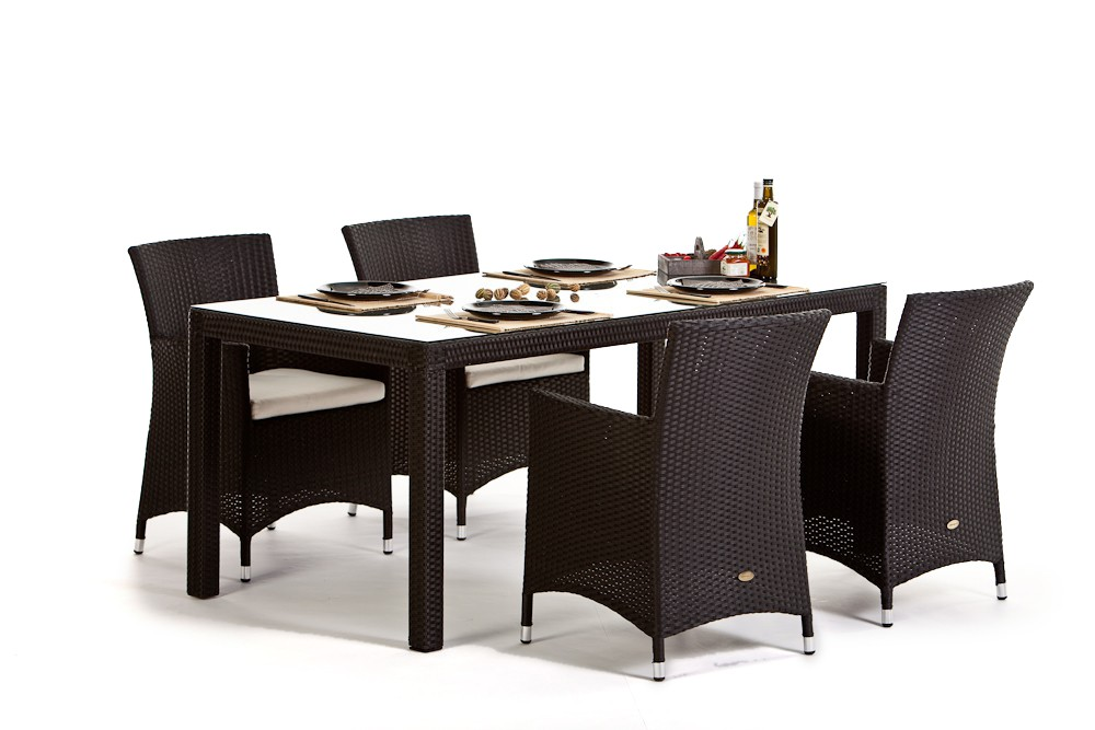 Meubles de jardin en rotin table et chaises Nairobi Dining 180 noir