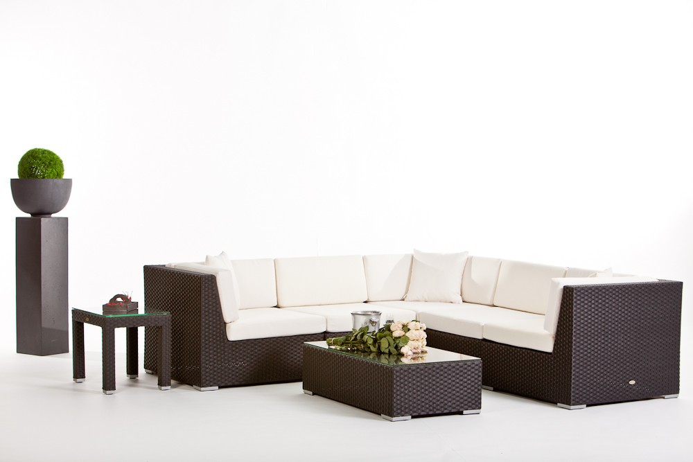 Gartenmobel Polyrattan Lutz : Individual Lounge, salon de jardin avec parasol Swing