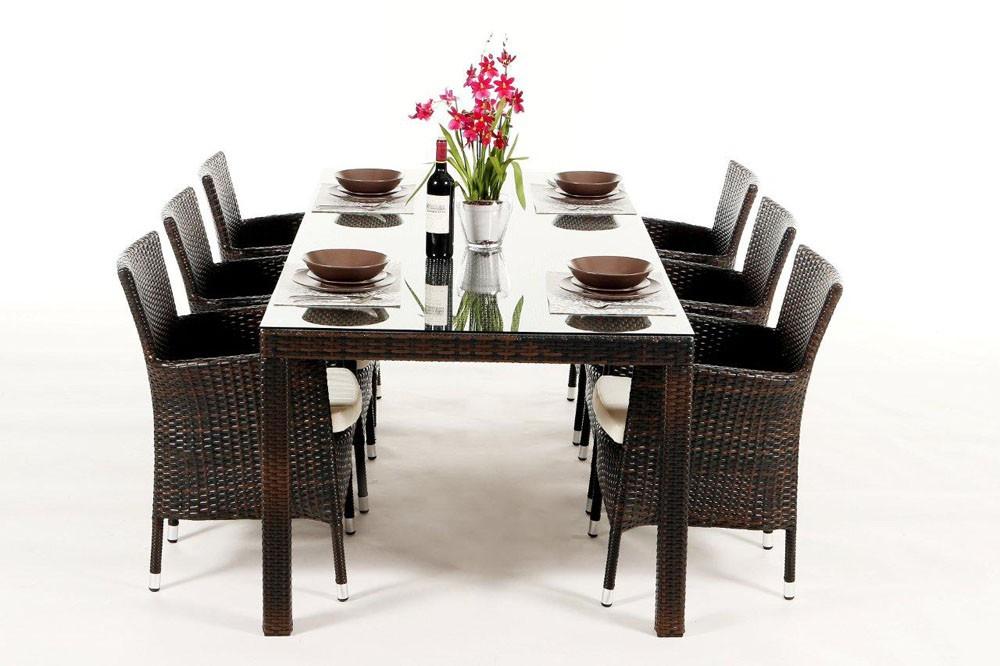 Gartenmobel Polyrattan Lutz : Set composé dune table et de 6 chaises Lotus Dining brun mélangé