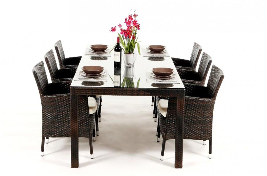 set compos d 39 une table et de 6 chaises lotus dining brun m lang. Black Bedroom Furniture Sets. Home Design Ideas