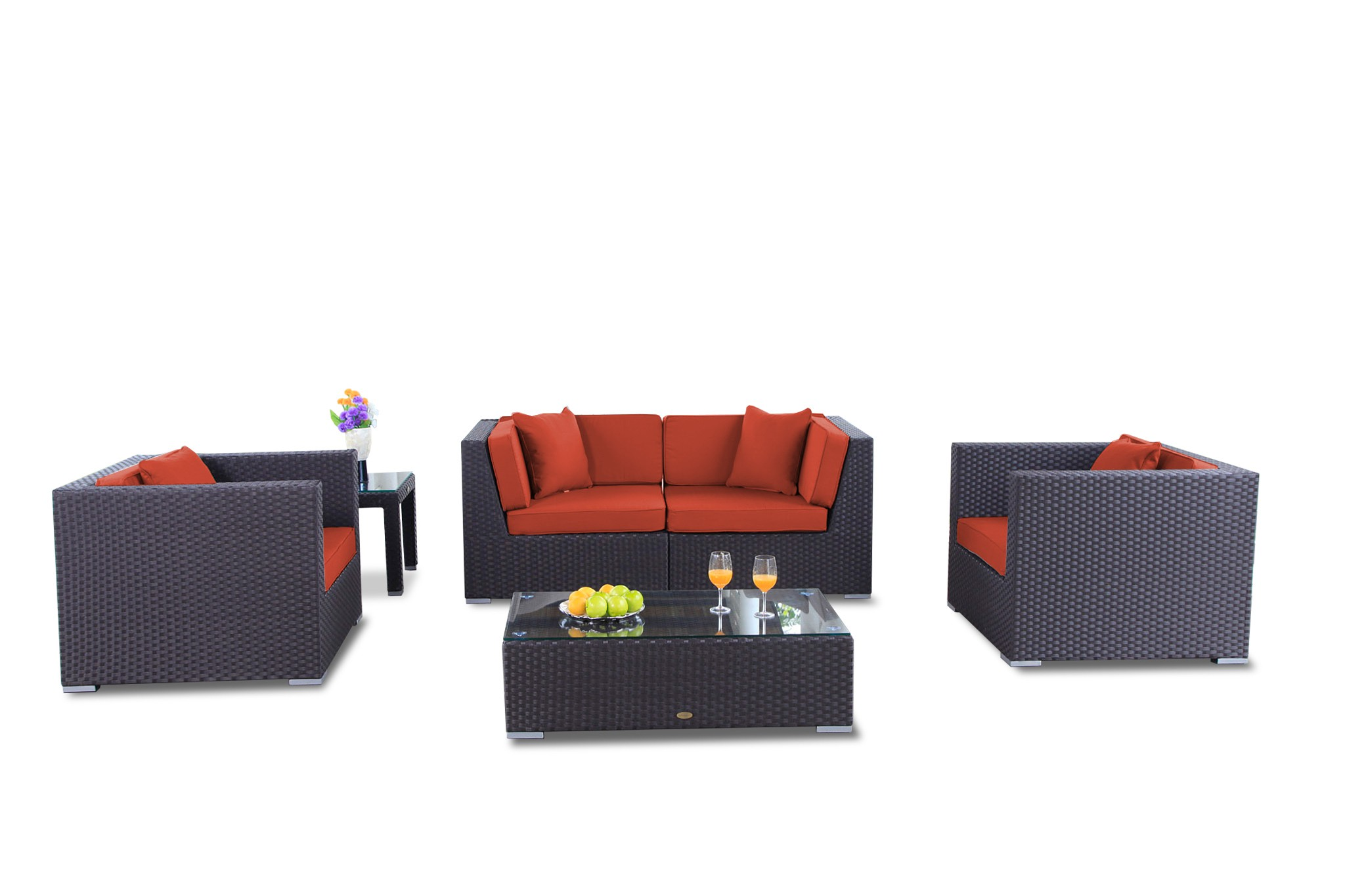 Wunderbar Finest Bilbao Rattan Gartenmbel Set Berzug Orange With Gartenmbel Set Rattan