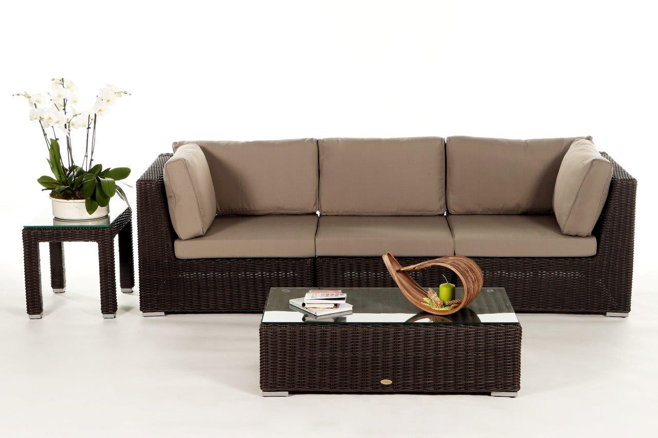 Birmingham rattan 3 seater lounge brown rattan garden for Sofa polster