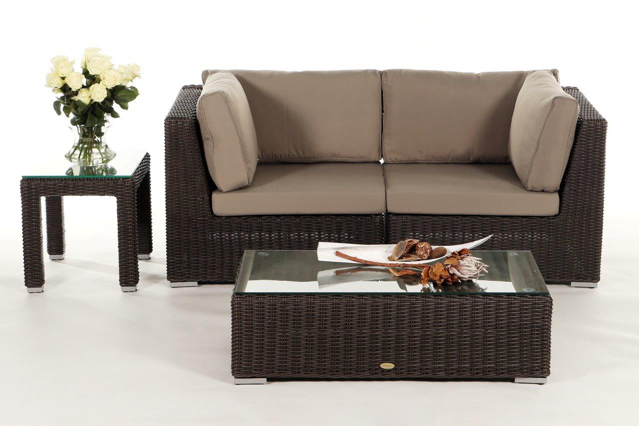 Birmingham rattan 2 seater lounge brown rattan garden furniture for your terrace garden or Sofa polster erneuern