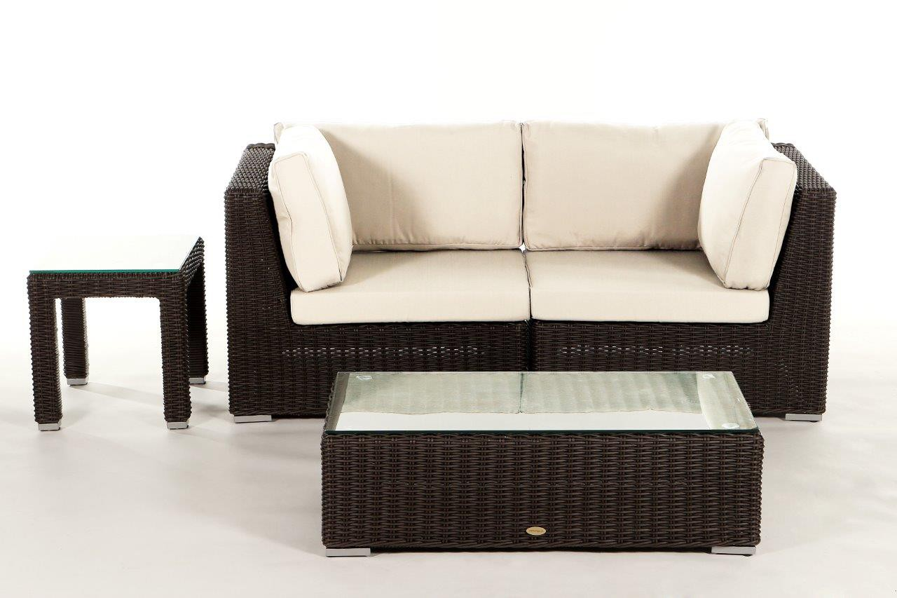 Birmingham rattan 2 seater lounge brown rattan garden for Sofa polster