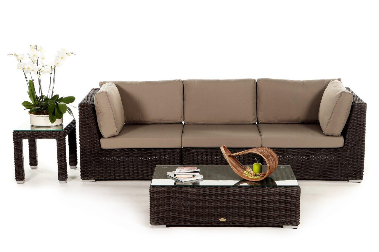 birmingham rattan 3 seater lounge brown rattan garden. Black Bedroom Furniture Sets. Home Design Ideas