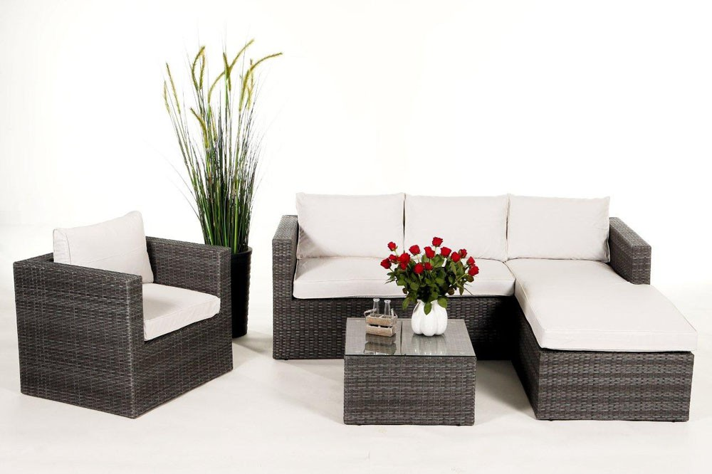 Rattan Lounge Weiss ~ Brooklyn rattan round lounge garden furniture set for