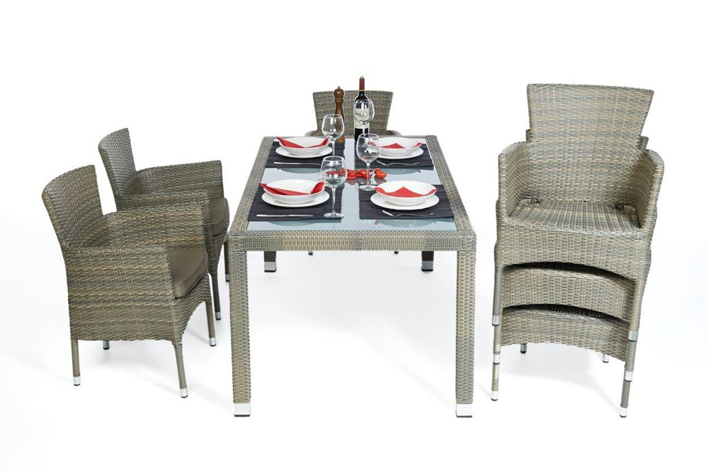 ... California Rattan Garden Dining Set (stackable Chairs) ...