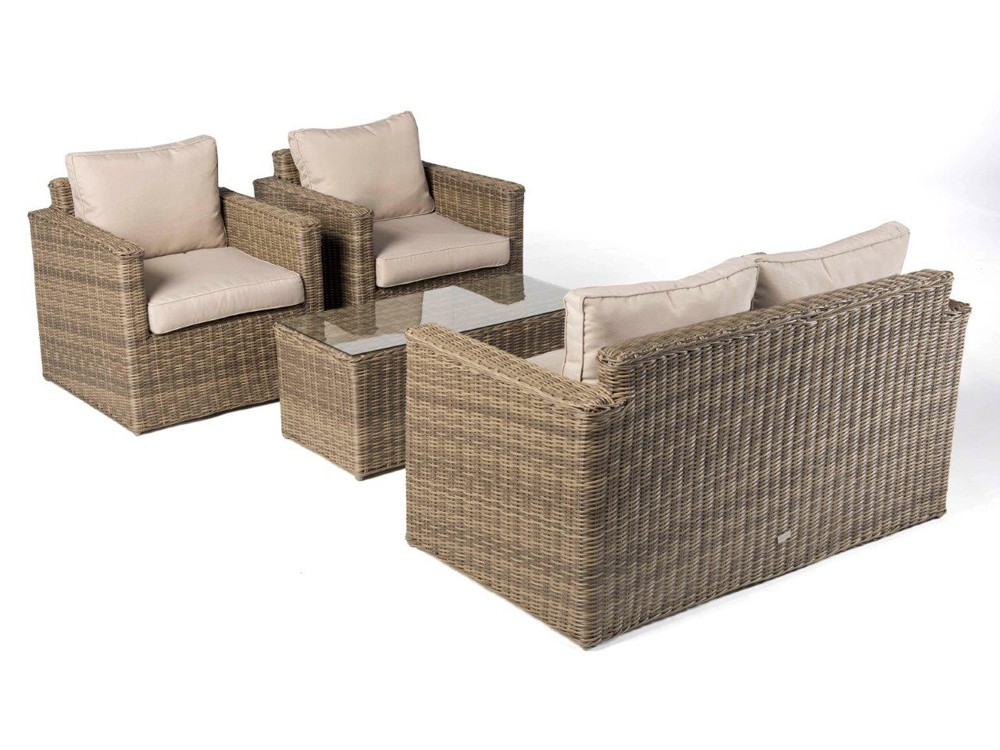 Dubai Rattan Round Lounge in Natural