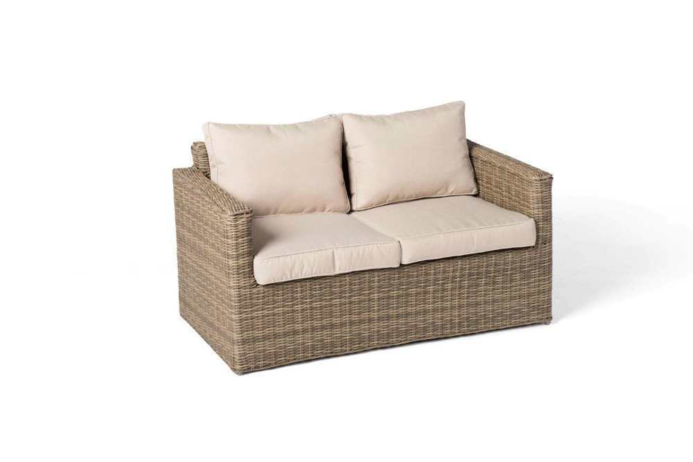 Dubai Rattan Round Lounge Set In Natural: 2 Seater Sofa ...